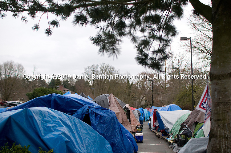 Overview of St. Mark's Cathedral in Seattle, WA Wednesday March 18, 2009, where Tent City 3 relocated after three months at a site in the suburbs of Shoreline. Over 100 people, including co-ed couples, sleep in donated tents, housed on wood pallet foundations.