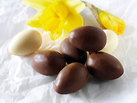 Choco;ate eggs. Food photos.