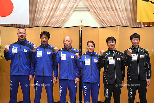 (L-R)  Kuban Milan head coach, Takuya Haneda, Kazuki Yazawa, Aki Yazawa, Shota Sasaki, Tsubasa Sasaki (JPN), <br /> MAY 8, 2016 - Canoe : <br /> Japan Canoe National Team Send-off Party <br /> for the 2016 Rio de Janeiro Olympic Games <br /> in Tokyo, Japan.<br /> (Photo by AFLO SPORT)