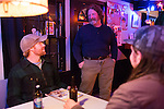 November 8, 2013. Chapel Hill, North Carolina.<br />  Will Mallett, left, talks with local legend Paul Plummer before the show.<br />  The Mallett Bros. Band played a 2.5 hour set at the Kraken on the last leg of a 6 week tour of the US, before heading for a wedding in Maryland and then their last show in Nashville, where they will open for their father.
