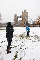 Snowman at Tower Bridge - London England