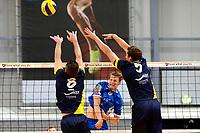 GRONINGEN - Volleybal, Abiant Lycurgus - Inter Rijswijk, Alfa College , Eredivisie , seizoen 2017-2018, 21-10-2017 /l9 slaat de bal langs het blok