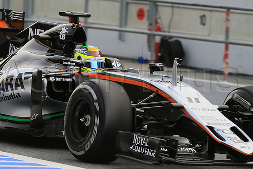 22.02.2016. Circuit de Catalunya, Barcelona, Spain. Spring F1 testing and new car unvieling for 2016-17 season.  Sahara Force India VJM09 - Sergio Perez