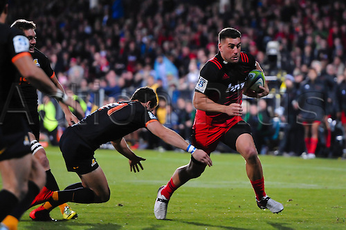 15.04.2016. Christchurch, New Zealand.  Kieron Fonotia of the Crusaders on the burst during the Super Rugby Match, Crusaders V Jaguares, AMI Stadium, Christchurch, New Zealand. 15th April 2016.