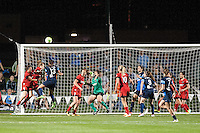 Kansas City, Mo. - Saturday April 23, 2016: FC Kansas City defender Brittany Taylor (13) goes up for a header. FC Kansas City hosts Portland Thorns FC at Swope Soccer Village. The match ended in a 1-1 draw.