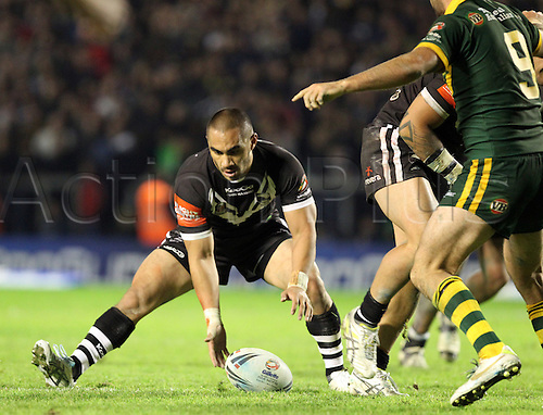 28.10.2011 Warrington England. Thomas Leuluai (Wigan) In action during the Gillette Four Nations Rugby League match between Australia and New Zealand played at the Halliwell Jones Stadium. Mandatory Credit: Actionplus