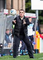 Martin Allen Manager of Barnet attempts to stop the ball during the Sky Bet League 2 match between Wycombe Wanderers and Barnet at Adams Park, High Wycombe, England on 16 April 2016. Photo by Andy Rowland.