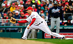 31 March 2011: Washington Nationals first baseman Adam LaRoche in Opening Day action against the Atlanta Braves at Nationals Park in Washington, District of Columbia. The Braves shut out the Nationals 2-0 to start off the 2011 Major League Baseball season. Mandatory Credit: Ed Wolfstein Photo