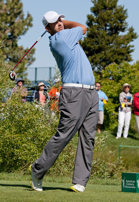 Tony Romo teeing off during the American Century Championship Celebrity Golf Tournament at Lake Tahoe on July 16.  Tom Smedes/RGJ