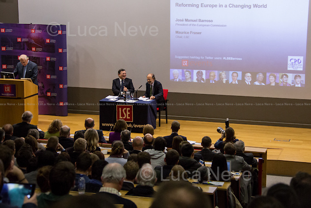 (From R to L) Peter Sutherland, Jos&eacute; Manuel Barroso and Maurice Fraser. <br /> <br /> London, 14/02/2014. Today, LSE (London School of Economics) presented a public lecture called &quot;Reforming Europe in a Changing World&quot; hosted by Jos&eacute; Manuel Barroso (11th and current President of the European Commission, position held since 2004; former Prime Minister of Portugal, 2002-2004; member of the left Portuguese party: Social Democratic Party). Chair of the event was Professor Maurice Fraser (Senior Fellow in European Politics, Director Agora Projects - publishing. Senior Counsellor, APCO Worldwide. Special Adviser to UK Foreign Secretaries Douglas Hurd, John Major and Sir Geoffrey Howe, 1989 - 1995).