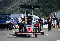 Jul. 23, 2011; Morrison, CO, USA: NHRA top fuel dragster driver David Grubnic during qualifying for the Mile High Nationals at Bandimere Speedway. Mandatory Credit: Mark J. Rebilas-