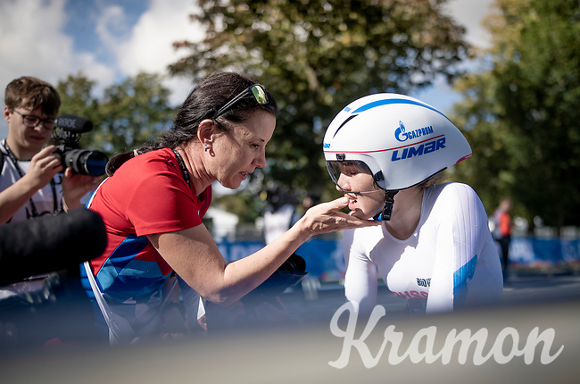 race winner & new World Champion Aigul Gareeva (RUS) after finishing her race where she even missed the last corner & lost all momentum<br /> <br /> post-race moments at the Women Junior Individual Time Trial<br /> <br /> 2019 Road World Championships Yorkshire (GBR)<br /> <br /> ©kramon