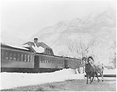 Passenger train at Ouray depot with bighorn sheep in foreground.<br /> D&amp;RGW  Ouray, CO