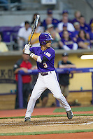LSU Tigers second baseman Kramer Robertson #3 at bat during the Southeastern Conference baseball game against the Georgia Bulldogs on March 22, 2014 at Alex Box Stadium in Baton Rouge, La. The Tigers defeated the Bulldogs 2-1. (Andrew Woolley/Four Seam Images)