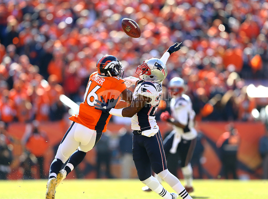 Jan 24, 2016; Denver, CO, USA; New England Patriots cornerback Justin Coleman (22) breaks up a pass intended for Denver Broncos wide receiver Bennie Fowler (16) in the first half in the AFC Championship football game at Sports Authority Field at Mile High. Mandatory Credit: Mark J. Rebilas-USA TODAY Sports
