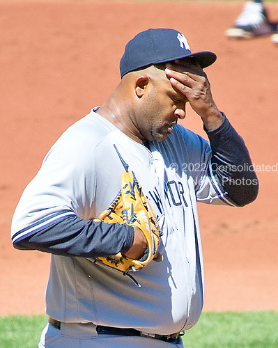 New York Yankees starting pitcher CC Sabathia (52) composes himself after giving up the second run to the Baltimore Orioles as he works in the second inning at Oriole Park at Camden Yards in Baltimore, MD on Sunday, April 9, 2017.<br /> Credit: Ron Sachs / CNP<br /> (RESTRICTION: NO New York or New Jersey Newspapers or newspapers within a 75 mile radius of New York City)