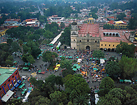 aerial photograph of Plaza Hidalgo, the central square of Villa Coyacan,which is the historic center of the alcadia (municipality) Coyacan of Mexico City, Mexico