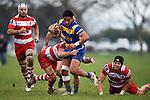 NELSON, NEW ZEALAND - JULY 13: Div 1 Rugby - Waimea Old Boys v Wanderers. Jubilee Park, Richmond 13 July 2019 in Motueka, New Zealand. (Photo by Chris Symes/Shuttersport Limited)