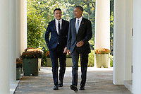 US President Barack Obama (R) and Italian Prime Minister Matteo Renzi (L) walk down the Colonnade to hold a joint news conference in the Rose Garden of the White House, in Washington DC, USA, 18 October 2016. Later today President Obama and First Lady Michelle Obama will host their final state dinner featuring celebrity chef Mario Batali and singer Gwen Stefani performing after dinner. <br /> Credit: Michael Reynolds / Pool via CNP /MediaPunch