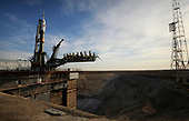 The Soyuz TMA-13 spacecraft arrives at the launch pad at the Baikonur Cosmodrome in Kazakhstan, Friday, Oct. 10, 2008 for launch Oct. 12 to carry Expedition 18 Commander Michael Fincke, Flight Engineer Yury V. Lonchakov and American Spaceflight Participant Richard Garriott to the International Space Station. The three crew members will dock their Soyuz to the International Space Station on Oct. 14. Fincke and Lonchakov will spend six months on the station, while Garriott will return to Earth Oct. 24, 2008 with two of the Expedition 17 crew members currently on the International Space Station.  <br /> Mandatory Credit: Bill Ingalls / NASA via CNP