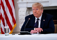 United States President Donald J. Trump makes remarks as he participates in a roundtable with law enforcement officials in the State Dining Room of the White House in W<br /> Washington, DC, Monday, June, 8, 2020. <br /> Credit: Doug Mills / Pool via CNP/AdMedia