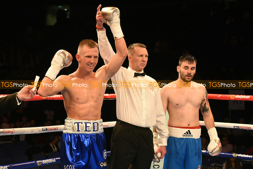 Ted Cheeseman (L) defeats Gabor Ambrus during a Boxing show at the O2 Arena, London