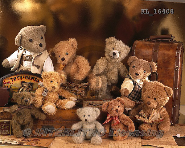 Interlitho, CUTE ANIMALS, LUSTIGE TIERE, ANIMALITOS DIVERTIDOS, teddies, paintings+++++,9 bears,KL16408,#ac#