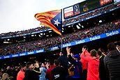 18th March 2018, Camp Nou, Barcelona, Spain; La Liga football, Barcelona versus Athletic Bilbao; Barcelona supporter with the independence flag of Catalonia is applauded by following fans
