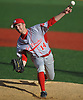 Liam Pulsipher #14, Center Moriches starting pitcher, delivers to the plate in the bottom of the sixth inning of a Suffolk County varsity baseball game against host Babylon High School on Monday, April 17, 2017. He held Babylon to one run over 6 2/3 innings of work and was the winning pitcher of record in the Red Devils' 3-1 victory.