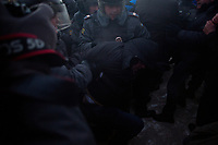 Police arrest demonstrators in Lubyanka Square during an unsanctioned anti-Putin demonstration in Moscow, Russia.  Police arrested a number of protesters and opposition leaders.