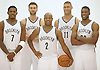 Brooklyn Nets players, from left, No. 7 Joe Johnson, No. 9 Andrea Bargnani, No. 2 Jarrett Jack, No. 11 Brook Lopez and No. 30 Quincy Miller pose for portraits during Media Day held at the team's practice center in East Rutherford, New Jersey on Monday, September 28, 2015.<br /> <br /> James Escher