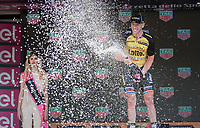 a super happy stage winner Jos Van Emden (NED/LottoNL-Jumbo) on the podium in Milano<br /> <br /> stage 21: Monza - Milano (29km)<br /> 100th Giro d'Italia 2017