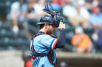 Columbus Clippers catcher Eric Haase (13) on defense against the Indianapolis Indians at Huntington Park on June 17, 2018 in Columbus, Ohio. The Indians defeated the Clippers 6-3.  (Brian Westerholt/Four Seam Images)