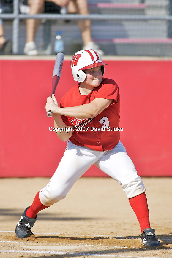 MADISON, WI - OCTOBER 6: Catcher Joey Daniels #3 of the Wisconsin Badgers softball bats against UW-Parkside at the Goodman Softball Complex in Madison, Wisconsin on October 6, 2007. The Badgers beat UW-Parkside 5-4. (Photo by David Stluka).