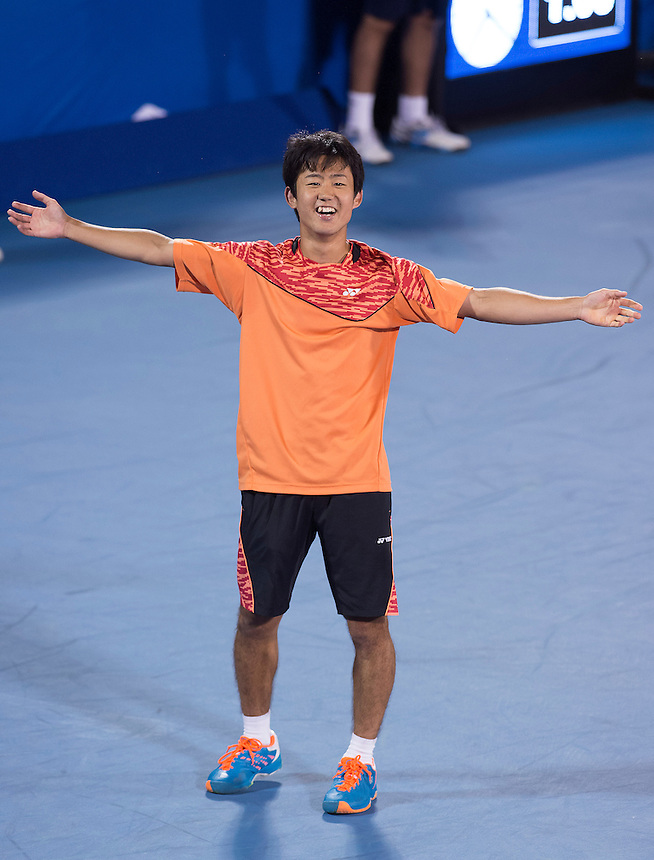 Delray Beach, FL - February 19: Yoshito Nishioka(JPN) celebrates as he defeats Marinko Matosevic(AUS) 61 63 at the 2015 Delray Beach Open by The Venetian Las Vegas. Photographer Andrew Patron<br /> <br /> Tennis - 2015 ATP World Tour 250 - The Delray Beach Open by The Venetian Las Vegas - Delray Beach, U.S.A - Day 4 - Thursday 19 February 2015<br /> <br /> &copy; CameraSport - 43 Linden Ave. Countesthorpe. Leicester. England. LE8 5PG - Tel: +44 (0) 116 277 4147 - admin@camerasport.com - www.camerasport.com