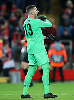 11th March 2020; Anfield, Liverpool, Merseyside, England; UEFA Champions League, Liverpool versus Atletico Madrid;  Liverpool goalkeeper Adrian reacts after Marcos Llorente of Atletico Madrid's 105th minute goal which gave  Atletico a 2-3 aggregate lead