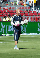 August 18, 2012: Sporting KC goalkeeper Jimmy Nielsen #1 in action during the warm-up in an MLS game between Toronto FC and Sporting Kansas City at BMO Field in Toronto, Ontario Canada..Sporting Kansas City won 1-0.