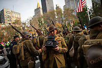 NEW YORK, USA - November 11: World War 1 American infantry reenactors attend the 100 Veterans Day parade on November 11, 2019 in New York, USA. President Donald Trump, the first sitting U.S. president attended New York's parade, where he offered a tribute to veterans ahead of the 100th annual parade  (Photo by Eduardo MunozAlvarez/VIEWpress)