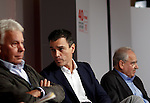 "Madrid,Spain - 16 10 2014- ""politics""-Former Spanish Socialist Leader Felipe Gonzalez(left) beside Spanish Socialist Leader Pedro Sanchez(center) and Alfonso Guerra(right) during at the 40th anniversary ceremony of the Suresnes Congress (Foto: Guillermo Martinez /Bouza Press)"