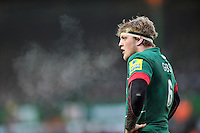 Jamie Gibson of Leicester Tigers looks on during a break in play. Aviva Premiership match, between Leicester Tigers and Bath Rugby on January 4, 2015 at Welford Road in Leicester, England. Photo by: Patrick Khachfe / Onside Images