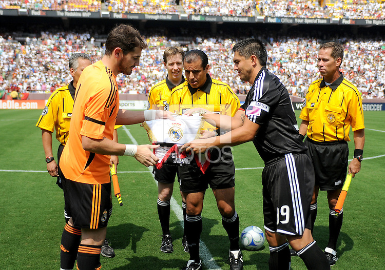Real Madrid captain Iker Casillas (1) and DC United captain Jaime Moreno (99) at coin toss. Real Madrid defeated DC United 3-0 at FedEx Field, Sunday August 9, 2009 in an International Friendly.