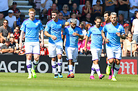 Sergio Aguero of Manchester City middle after scoring the first goal during AFC Bournemouth vs Manchester City, Premier League Football at the Vitality Stadium on 25th August 2019