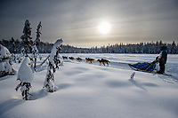 Charmayne Morrison on the trail on the way to the finish of the 2018 Junior Iditarod in Willow, Alaska. Sunday February 25, 2018<br /> <br /> Photo by Jeff Schultz/SchultzPhoto.com  (C) 2018  ALL RIGHTS RESERVED