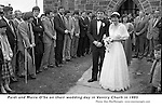 Paidi and Maire O&quot;Se on their wedding day in Ventry Chursh in 1985 cheered on by teamates  Paidi's funeral will take place in the same church.<br /> Picture by Don MacMonagle