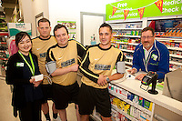 Footballers from The White Swan FC popped into the Pharmacy at ASDA Newark to try out their new free blood pressure testing service. Pictured from left are Pharmacist Ju Li Cheng, Peter Culpin, Alvin Sheldon, Ashley Dearlove and Dispensing Assistant Sam Maxwell