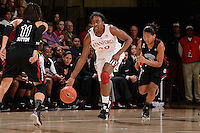 STANFORD, CA - NOVEMBER 26: Nnemkadi Ogwumike of Stanford women's basketball threads the defense in a game against South Carolina on November 26, 2010 at Maples Pavilion in Stanford, California.  Stanford topped South Carolina, 70-32.