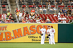Washington Nationals fans wave giant photos of the outfielders heads during a game against the Miami Marlins at Nationals Park in Washington, DC on September 7, 2012.