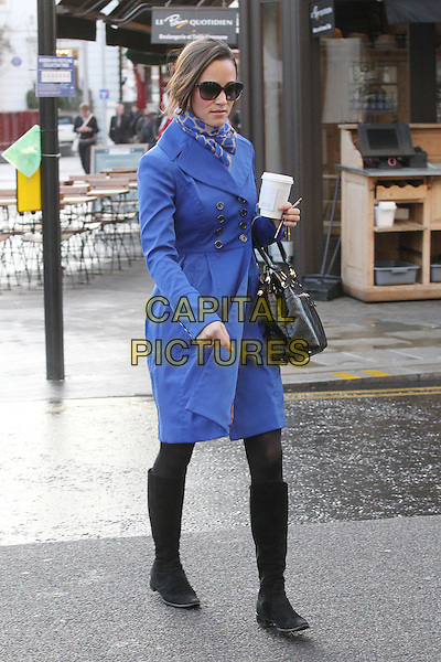 Pippa Middleton arrives for work, London, England..December 13th, 2011.full length sunglasses shades blue jacket scarf print bag purse boots black takeaway coffee drink beverage .CAP/HIL.©John Hillcoat/Capital Pictures .