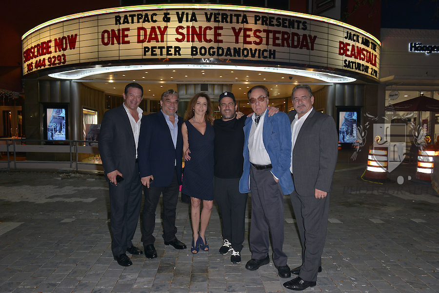 CORAL GABLES, FL - FEBRUARY 28: Victor Barroso, Fernando Zulueta, Antonia Bagdanovich, Producer / Director Brett Ratner, actor / director Peter Bogdanovich and Ignacio Zulueta attend the Miami Premiere of RatPac Documentary Films One Day Since Yesterday: Peter Bogdanovich and the Lost American Film' followed by Q&A at Miracle Theater inside the Actors Playhouse on February 28, 2017 in Coral Gables, Florida. ( Photo by Johnny Louis / jlnphotography.com )
