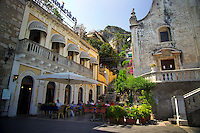 Taormina, Sicily, Italy, May 2007. Taormina with its picturesque center is a favored hangout for the rich and famous The rugged nature of sicily harbours beautiful villages and ruins of ancient civilizations. Photo by Frits Meyst/Adventure4ever.com